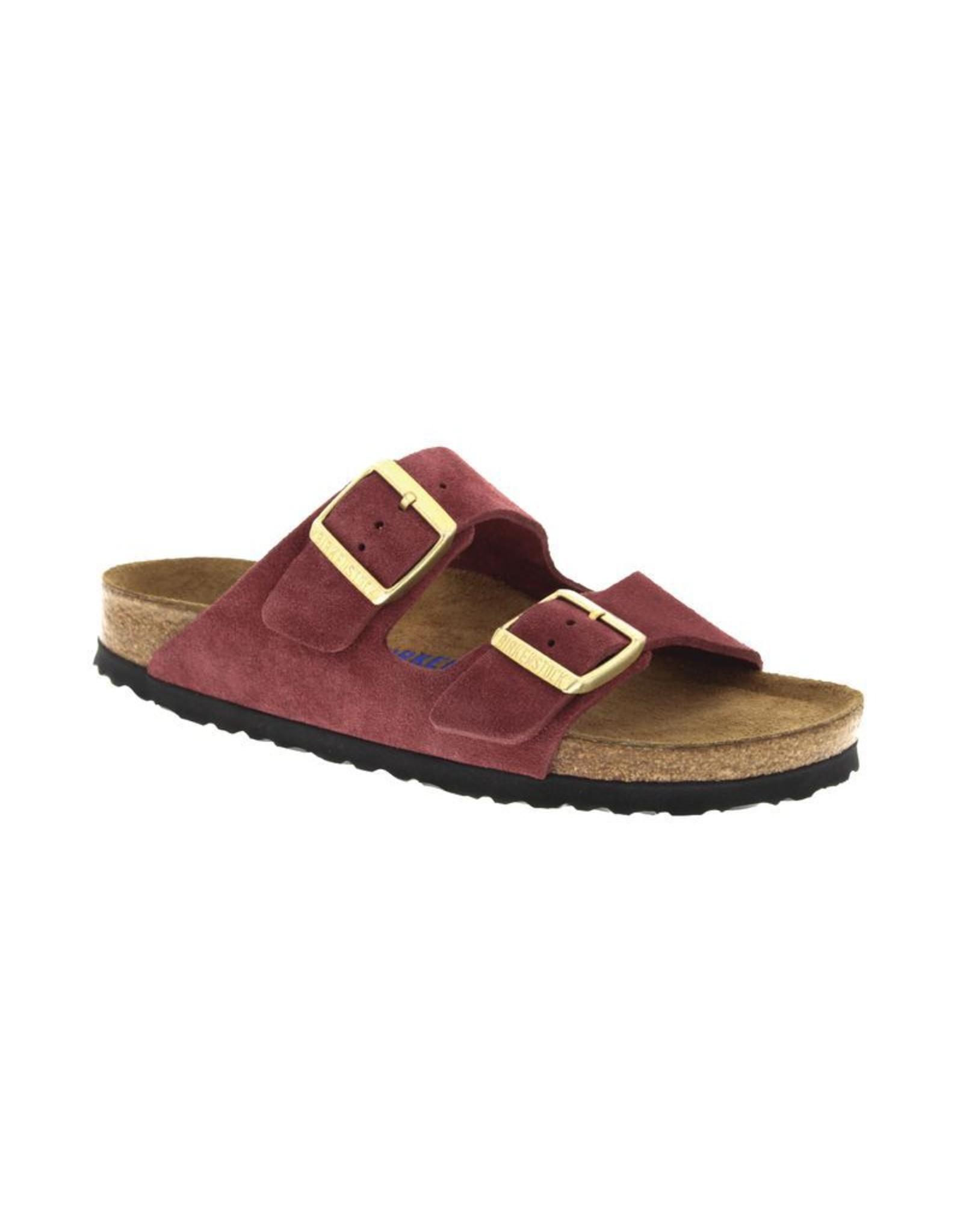 Birkenstock Arizona Soft Footbed Burgandy Suede Sandal