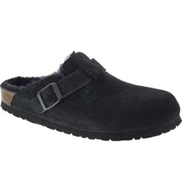 Birkenstock Boston Black Suede Clog with Shearling Fur Lining