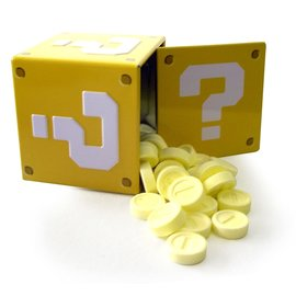 Boston America Corp Bonbons - Nintendo Super Mario Bros. - Question Block Fraise Acidulée Boîte en métal
