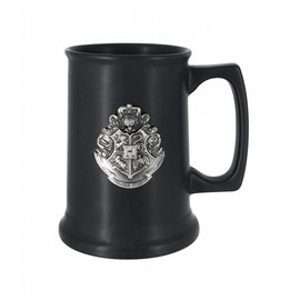 Monogram Mug - Harry Potter - Ceramic Black Tankard with Pewter Hogwarts Crest Deluxe 28oz