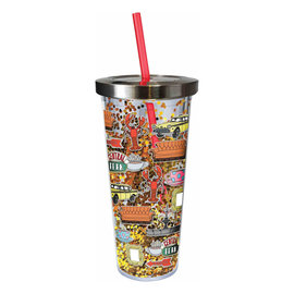 Spoontiques Travel Glass - DC Comics - Friends with Glitters Insulating with Straw 20oz