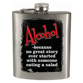 Spoontiques Flask - Generic - Alcohol: No Great Story Starts With Salad