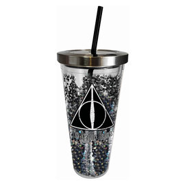 Spoontiques Travel Glass - Harry Potter - Deathly Hallows with Glitters Insulating with Straw 20oz