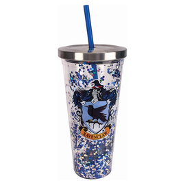Spoontiques Travel Glass - Harry Potter - Ravenclaw Crest with Glitters Insulating with Straw 20oz