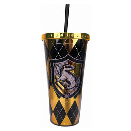 Spoontiques Travel Glass - Harry Potter - Hufflepuff Crest Insulating with Straw 20oz