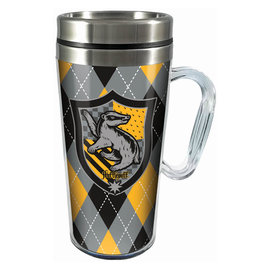 Spoontiques Travel Mug - Harry Potter - Hufflepuff Crest Insulating with Handle 16oz