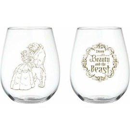 Katalyst Licensing Glass - Disney - Beauty and the Beast: Gold Silhouette Stemless Set of 2 18oz