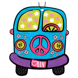 Spoontiques Car Accessory - Hippie - Peace and Love Van Air Freshener Pack of 3