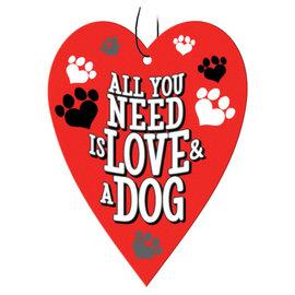 Spoontiques Accessoire pour voiture - Chien - All you Need is Love & a Dog Assainisseurs d'air Paquet de 3