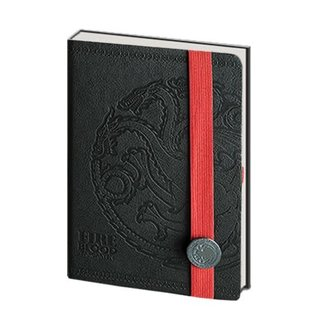 Pyramid America Carnet de notes - Game of Thrones - Faux Cuir Noir et Logo Targaryen en Métal Deluxe