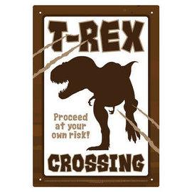 Aquarius Enseigne en métal - Dinosaures - T-Rex Crossing
