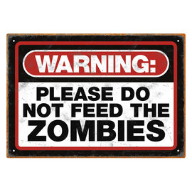 Aquarius Tin Sign - Zombies - Warning Please Do Not Feed the Zombies