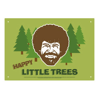 Aquarius Enseigne en métal - Bob Ross - Happy Little Trees