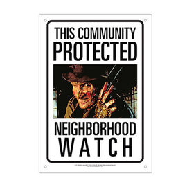 Aquarius Enseigne en métal - Nightmare on Elm Street - This Community is Protected Neighborhood Watch Freddy