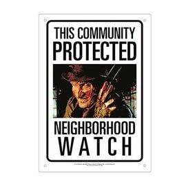 Aquarius Tin Sign- Nightmare on Elm Street - This Community is Protected Neighborhood Watch Freddy