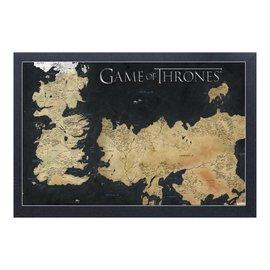 "Aquarius Cadre - Game of Thrones - Carte de Westeros et Esos Antique Encadré Enduit de Gel 11x17"""