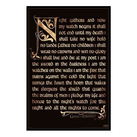 Pyramid America Cadre - Game of Thrones - Night Watch Oath Antique Encadré Enduit de Gel 11x17""