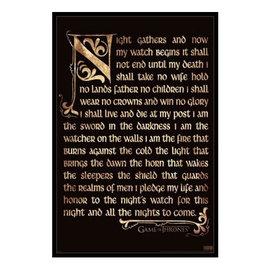 "Pyramid America Frame - Game of Thrones - Nightwatch Oath Antique Gel Coated Framed Print 11x17"""