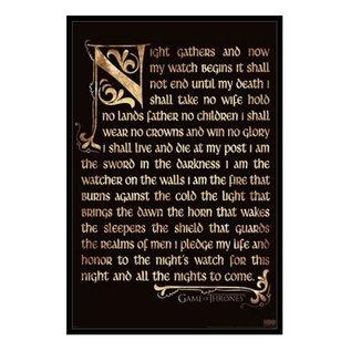 "Pyramid America Cadre - Game of Thrones - Night Watch Oath Antique Encadré Enduit de Gel 11x17"""