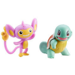Wicked Cool Toys Figurine - Pokémon - Battle Figure Pack Squirtle et Aipom