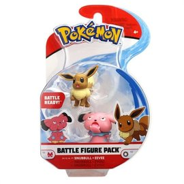 Wicked Cool Toys Figurine - Pokémon - Battle Figure Pack Snubbull et Eevee