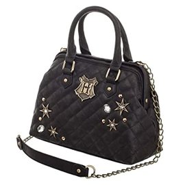 Bioworld Purse - Harry Potter - Hogwarts Metal Logo Black with Stars