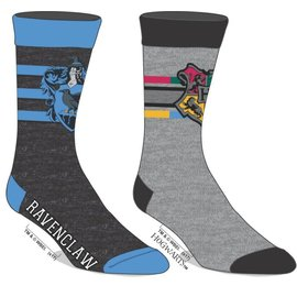 Bioworld Socks - Harry Potter - Ravenclaw and Hogwarts Grey 2 Pairs Crew Tube Pack