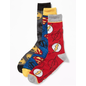 Bioworld Chaussettes - DC Comics - Justice League: The Flash, Superman, Batman Paquet de 3 Paires Crew Tube