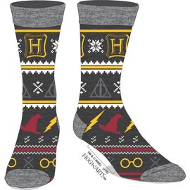 Bioworld Socks - Harry Potter - Hogwarts Holiday with Deathly Hallows 1 Pair Crew