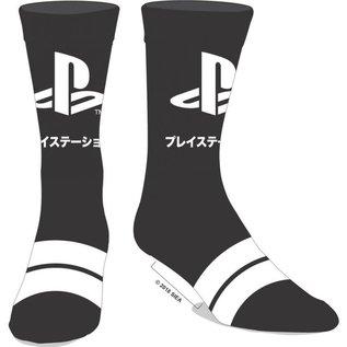 Bioworld Chaussettes - PlayStation - Logo Japonais Noires à Bandes Grises 1 Paire Crew Tube