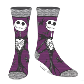 Bioworld Chaussettes - Disney - The Nightmare Before Christmas: Jack Skellington Chamoirées Mauves 1 Paire Crew