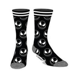 Bioworld Chaussettes - Disney - The Nightmare Before Christmas: Jack Skellington Noires et Blanches 1 Paire Crew Tube