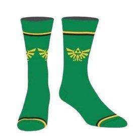 Bioworld Socks - The Legend of Zelda - Hyrule Crest Green with Lines 1 Pair Crew