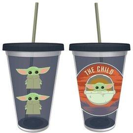 Vandor Travel Glass - Star Wars The Mandalorian - The Child Bébé Yoda Chibi with Straw 16oz