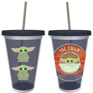 Vandor Travel Glass - Star Wars The Mandalorian - The Child Bébé Yoda Chibi with Straw 16oz