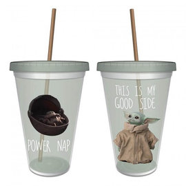 Vandor Travel Glass - Star Wars The Mandalorian - The Child Baby Yoda This is my Good Side with Straw 16oz