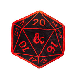 Bioworld Blanket - Dungeons & Dragons - 20 Sided Die Shaped Red and Black Fleece Throw