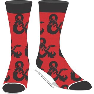 Bioworld Socks - Dungeons & Dragons - Red with Black Logo 1 Pair Crew
