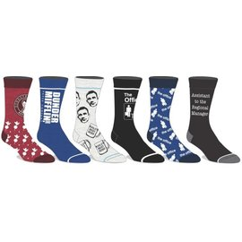 Bioworld Socks - The Office - Dunder Mifflin Paper Company Logo Bleues Pack of 6 Pairs Crew