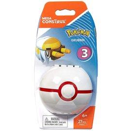 MEGA Brand Figurine - Pokémon - Mega Construx Grubbin avec Premier Poké Ball Série 3