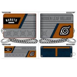 Bioworld Wallet - Naruto Shippuden -  Konoha Symbol Hidden Leaf Village Grey and Orange with Chain