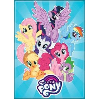 Ata-Boy Aimant - My Little Pony - Applejack, Rarity, Fluttershy, Twilight Sparkle, Rainbow Dash, Pinkie Pie et Spike Bleu