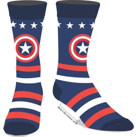 Bioworld Socks - Marvel - Captain America: Logo and Stars Blue and Red 1 pair Crew
