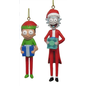 """Kurt S. Adler Article des Fêtes - Rick and Morty - Rick et Morty Avec Tuque Ornement pour Sapin de Noël Ensemble de 2 3.5"""""""