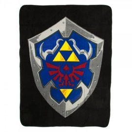 Bioworld Blanket - The Legend of Zelda - Hylian Shield on Black Plush Throw