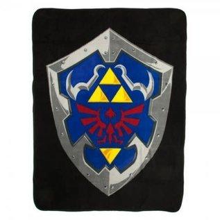 Bioworld Couverture - The Legend of Zelda - Bouclier Hylian Noir Jeté en Peluche