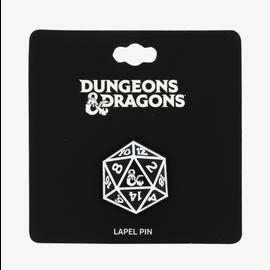 Bioworld Épinglette - Dungeons & Dragons - Dé 20 Noir et Blanc avec Logo Ampersand