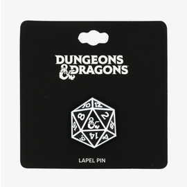 Bioworld Lapel Pin - Dungeons & Dragons - 20 Sided Dice Black and White with Ampersand Logo