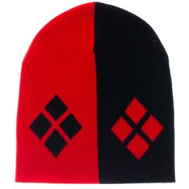 Bioworld Toque - DC Comics- Harley Quinn Logo Black and Red Mirror Beanie *Liquidation*