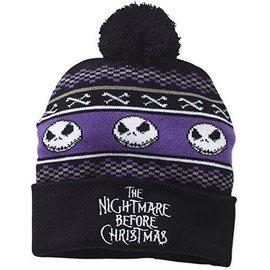 Bioworld Toque - Disney - The Nightmare Before Christmas Jack Skellington Head Purple and Black with Pom Pom